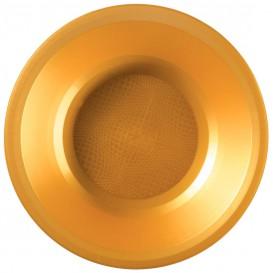 """Plastic bord Diep goud """"Rond vormig"""" PP Ø19,5 cm (600 stuks)"""