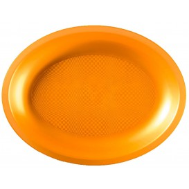 "Plastic schotel microgolfbaar Ovaal vormig goud ""Rond vormig"" 31,5x22 cm (240 stuks)"