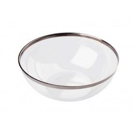 Bol Plástico Transparente Ribete Plata 400ml (8 Uds)