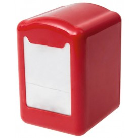 """Servet plastic dispenser """"Miniservis"""" rood 17x17cm (12 stuks)"""