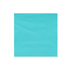 Papieren servet turkoois rand 20x20cm 2C (6000 stuks)