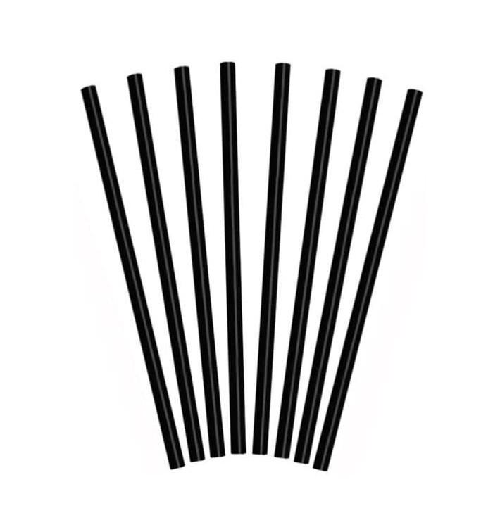 Plastic recht PS rietje voor Frappé zwart Ø0,8cm 25cm (10000 stuks)