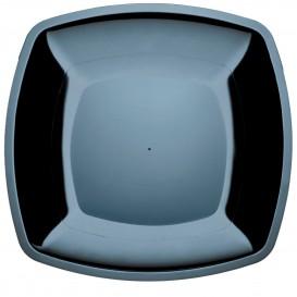 Plastic bord Plat zwart Vierkant PS 30 cm (144 stuks)