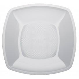 Plastic bord Plat wit Vierkant PP 23 cm (25 stuks)