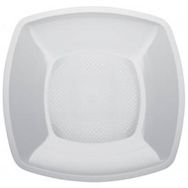 Plastic bord Plat wit Vierkant PP 23 cm (300 stuks)