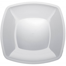 Plato de Plastico Llano Blanco Square PS 300mm (12 Uds)
