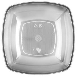 Plato de Plastico Hondo Transparente Square PS 180mm (25 Uds)