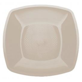 Plastic bord Plat beige Vierkant PP 18 cm (300 stuks)
