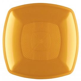Plastic bord Diep goud Vierkant PP 18 cm (12 stuks)
