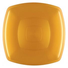 Plastic bord Plat goud Vierkant PS 30 cm (12 stuks)