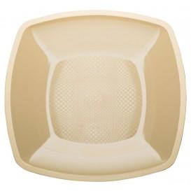 Plastic bord Plat crème Vierkant PP 18 cm (300 stuks)