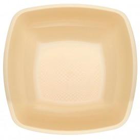 Plastic bord Diep crème Vierkant PP 18 cm (25 stuks)