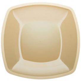 Plastic bord Plat crème Vierkant PS 30 cm (144 stuks)