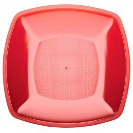Plastic bord Plat rood Vierkant PS 23 cm (25 stuks)