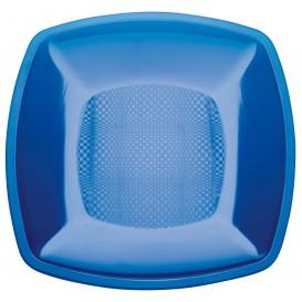 Plastic bord Plat blauw Vierkant PS 23 cm (25 stuks)