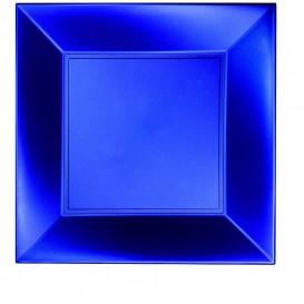 "Plastic bord Plat blauw ""Nice"" parel PP 29 cm (12 stuks)"