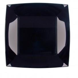 """Plastic bord Plat zwart """"Nice"""" PP 23 cm (300 stuks)"""