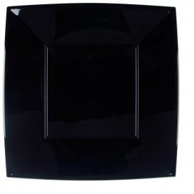"""Plastic bord Plat zwart """"Nice"""" PP 29 cm (144 stuks)"""
