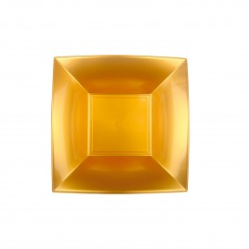 "Plastic bord Diep goud ""Nice"" PP 18 cm (12 stuks)"