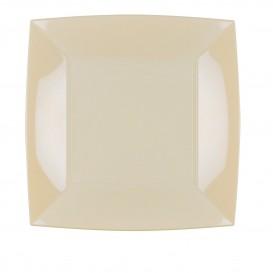 """Plastic bord Plat crème """"Nice"""" PP 23cm (25 stuks)"""