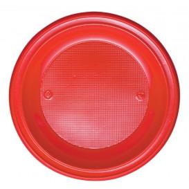 Plastic bord PS Plat rood Ø28 cm (10 stuks)