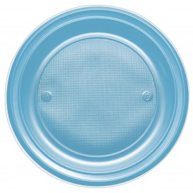 Plastic bord PS Plat turkoois Ø17 cm (50 stuks)
