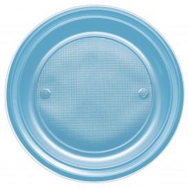 Plastic bord PS Plat turkoois Ø17 cm (1100 stuks)