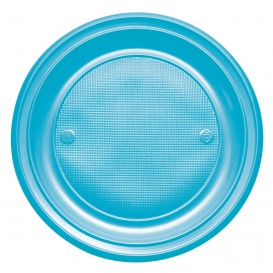 Plastic bord PS Plat turkoois Ø22 cm (30 stuks)
