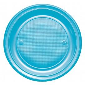 Plastic bord PS Plat turkoois Ø22 cm (780 stuks)