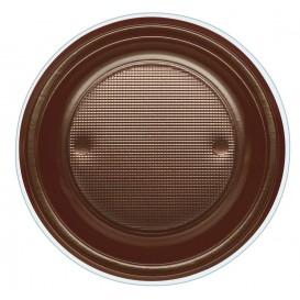Plastic bord PS Diep chocolade Ø22 cm (600 stuks)