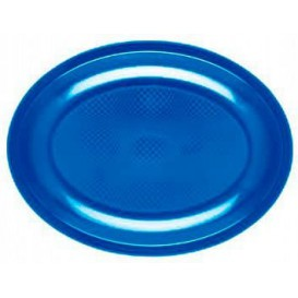 """Plastic schotel Ovaal vormig mediterranean blauw """"Rond vormig"""" PP 30,5 cm (25 stuks)"""