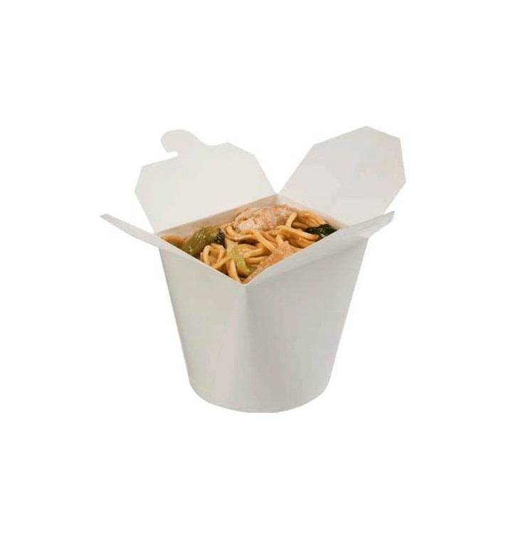 Papieren take-out Container wit 529ml (50 stuks)
