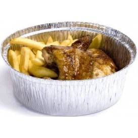 Folie pan voor gebraden kip Rond vormig 1900ml (125 stuks)