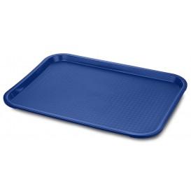 Plastic dienblad Fast Food blauw 30,4x41,4cm (24 stuks)