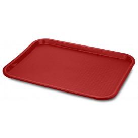 Plastic dienblad Fast Food rood 35,5x45,3 cm (12 stuks)