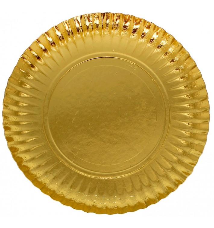 Papieren bord Rond vormig goud 23cm (500 stuks)