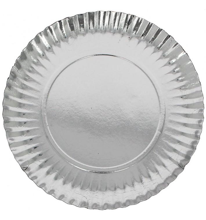 Papieren bord Rond vormig zilver 23cm (500 stuks)