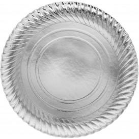 Papieren bord Rond vormig zilver 30cm (400 stuks)