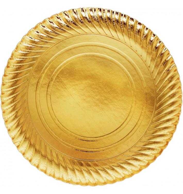 Papieren bord Rond vormig goud 30cm (400 stuks)
