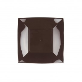"Plastic bord Plat bruin ""Nice"" PP 18 cm (25 stuks)"