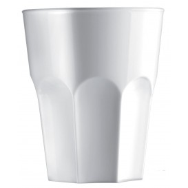 "Plastic glas SAN Herbruikbaar ""Graniten"" wit 400 ml (75 stuks)"