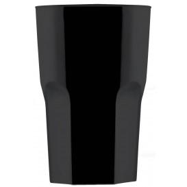 """Plastic glas SAN Herbruikbaar """"Graniten"""" zwart 400 ml (75 stuks)"""