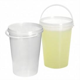 Plastic emmer met handvat en Deksel transparant 1000 ml (10 stuks)