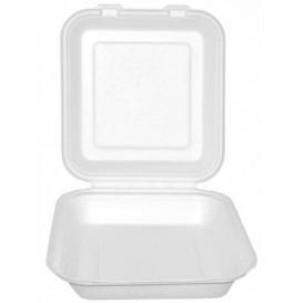 """Suikerriet Gescharnierd Container """"Menu Box"""" wit 20x18x5cm (200 stuks)"""
