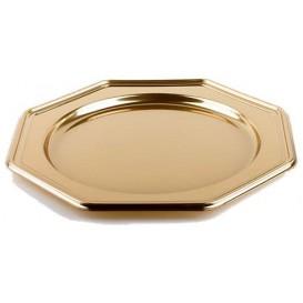 Plastic oplader bord PET Achthoekig goud 30 cm (5 stuks)