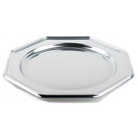Plastic oplader bord PET Achthoekig zilver 30 cm (50 stuks)