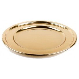 Plastic oplader bord Rond vormig goud 30 cm (5 stuks)