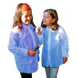 Wegwerp kinder lab jas TST PP Velcro blauw (1 stuk)