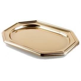 Plastic dienblad Achthoekige vorm goud 36x24 cm (50 stuks)