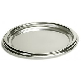 Plastic dienblad Rond vormig zilver 30 cm (5 stuks)